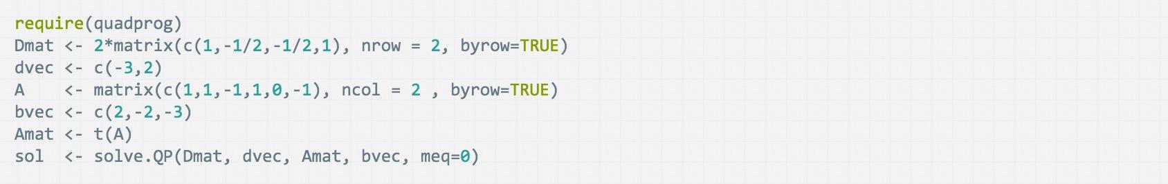 [译]在R中使用quadprog包求解二次规划
