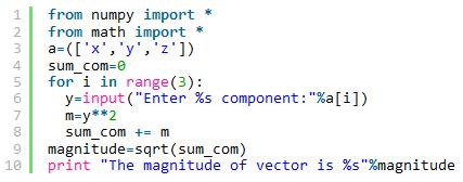 Python计算三维矢量幅度的方法